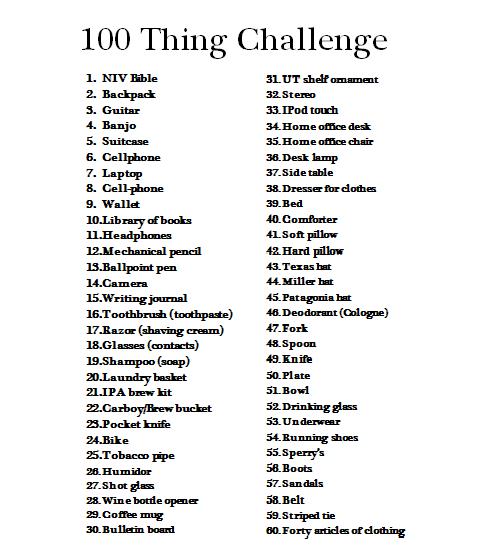 The 100 Thing Challenge Thebucketlistblog
